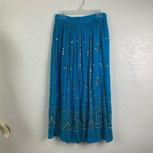 Earthbound Trading Co Blue Beaded Broomstick Skirt